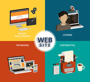 Website building. Infographic vector concept illustration of website building process. Isometric view Stock Image