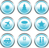 Website buttons: Travel/weather Stock Image