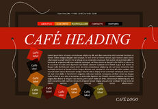 Website cafe template layout with text Royalty Free Stock Photos