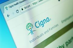 Cigna health organization website. Website of Cigna health organization on computer screen. Cigna is an American worldwide health services organization stock photography