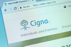 Cigna health organization website. Website of Cigna health organization on computer screen. Cigna is an American worldwide health services organization royalty free stock image