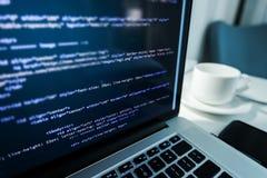Website Coding. Website HTML Code on the Laptop Display Closeup Photo. Webdesigner Workstation royalty free stock images