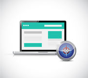 Website and compass illustration design Stock Images
