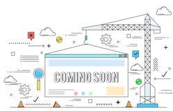 Website construction concept line style illustration Stock Image