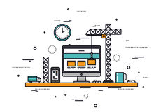 Website construction line style illustration. Thin line flat design of website under construction, web page building process, site form layout and menu buttons stock illustration