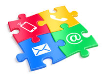 Website contact us concept - colorful puzzles witn contacts icons. 3d illustration Royalty Free Stock Image