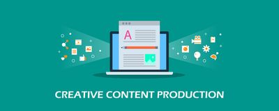 Creative content production - copy writing - blog post - article writing idea and digital marketing. Flat design vector banner. vector illustration
