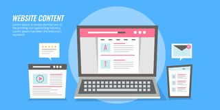 Website content - webpage with content showing on digital devices. Flat design vector banner. Concept of web content to attract new audiences. Flat design stock illustration