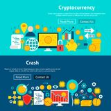 Website Cryptocurrency Banners. Vector Illustration for Web Header. Financial Flat Design Royalty Free Stock Images