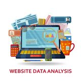 Website data analysis background. Laptop with infographic elements and abstract contents. Vector illustration royalty free illustration