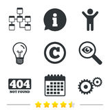 Website database icon. Copyrights and repair. Stock Images