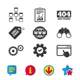 Website database icon. Internet globe and repair. Website database icon. Internet globe and gear signs. 404 page not found symbol. Under construction. Browser Royalty Free Stock Photo