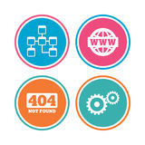 Website database icon. Internet globe and repair. Royalty Free Stock Photos