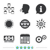 Website database icon. Internet globe and repair. Royalty Free Stock Image