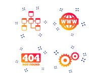 Website database icon. Internet globe and repair. Vector