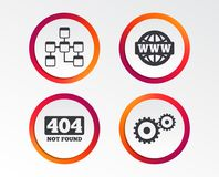 Website database icon. Internet globe and repair. Website database icon. Internet globe and gear signs. 404 page not found symbol. Under construction Royalty Free Stock Images