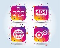 Website database icon. Internet globe and repair.