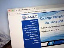 Website des thailändischen Anti-Geldwäsche-Büros AMLO stockfotografie
