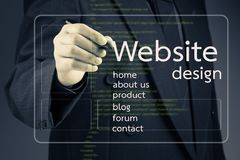 Website design. Businessman pointing at Website design article on screen