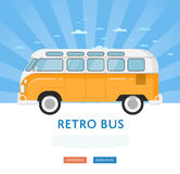 Website design with classic retro bus. Vintage public auto vehicle on blue striped background banner. Auto business, sale or rent transport online service Royalty Free Stock Image