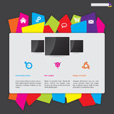 Website design with color paper label button bar Stock Photography