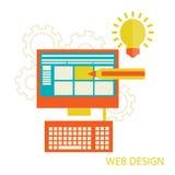 Website design development. Flat design of desktop website design development process with minimalistic modern digital tablet