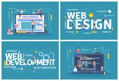 Website design and development horizontal banner set. royalty free illustration