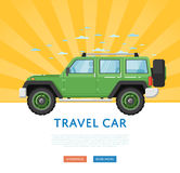 Website design with extreme travel car. Off road 4x4 auto vehicle, modern suv car on blue striped background banner. Auto business, sale or rent transport Royalty Free Illustration