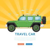 Website design with extreme travel car. Off road 4x4 auto vehicle, modern suv car on blue striped background banner. Auto business, sale or rent transport Vector Illustration