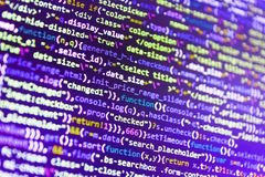 Website design. Monitor closeup of function source code. IT business. Writing programming functions on laptop royalty free stock photo