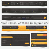 Website design navigation template elements with icons set Stock Photos