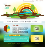 Website design with rainbow and trees. Eco land Royalty Free Stock Image