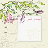 Website design template. With Lily flowers Stock Photos