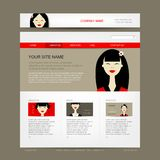 Website design template with asian woman Royalty Free Stock Photos