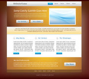 Website design template - golden and blue colors Stock Photo