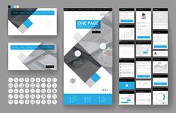 Website design template and interface elements Stock Photo