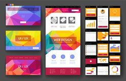 Website design template and interface elements Royalty Free Stock Images