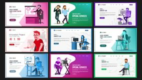 Website Design Template Set Vector. Business Landing. IT Technology. Modern Online Services Architecture. Landing Page. Website Design Template Set Vector Royalty Free Stock Photo