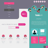 Website Design Template with UI Elements kit, Flat Design Concept. Royalty Free Stock Image