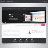 Website Design Template with UI Elements kit, Flat Design Concept.Web design concept, Clean Modern Website template in editable ve Stock Images