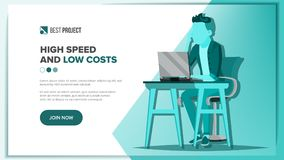 Main Web Page Design Vector. Business Screen. Innovation Idea. Cartoon People. Engineer Device. Illustration. Website Design Template Vector. Business Background Royalty Free Stock Photo