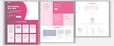 Website Design Template Vector. Business Project. Landing Web Page. Financial Management. Looking Opportunity. Manager. Website Design Template Vector. Business Royalty Free Stock Photo