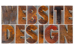 Website design in wood type Stock Photo