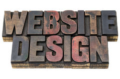 Website design in wood type Royalty Free Stock Photos