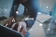 Website designer working digital tablet dock keyboard and comput. GDPR. Data Protection Regulation with Cyber security and privacy virtual diagram.Website Stock Images