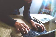 Website designer working digital tablet dock keyboard Royalty Free Stock Image
