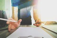 Website designer working digital tablet and smartphone and digit. Website designer working digital tablet and smartphone and laptop computer with digital design Stock Images