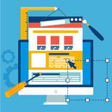 Website Development banner. Computer with constuctor tools vector illustration