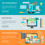 Website Development Banners. Set of three horizontal concept banners illustrated aspects of website development process vector illustration Royalty Free Stock Images
