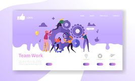 Website Development Landing Page Template. Mobile Application Layout with Flat Business People Running Gears. Team Work. Concept. Easy to Edit and Customize vector illustration